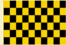 Black And Gold Check 5' x 3' Larger Sleeved Flag